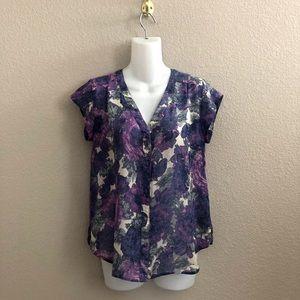 Joie Floral Print Button Down Silk Blouse Top